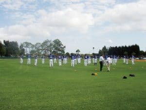 Los Angeles Dodgers warming up prior to a spring training game.